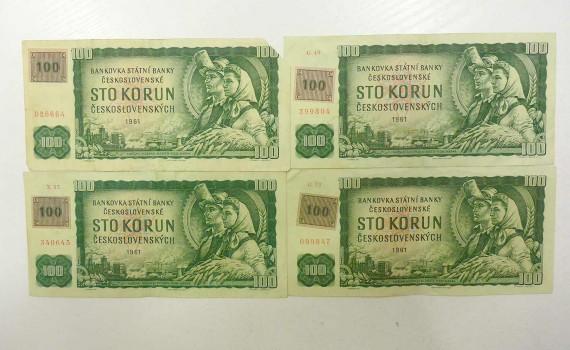 Vier Geldscheine aus der ehemaligen Tschechoslowakei